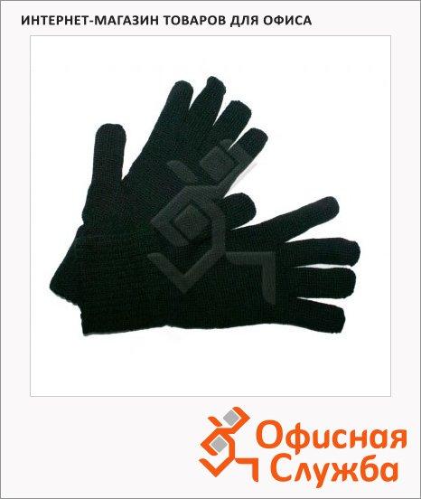 Перчатки трикотажные черные, утепленные/ двойные
