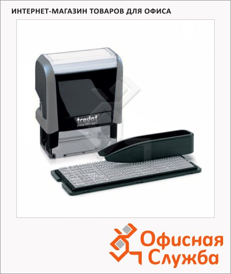фото: Штамп прямоугольный самонаборный Trodat Printy Typomatic 3 строки 38х14мм, серый