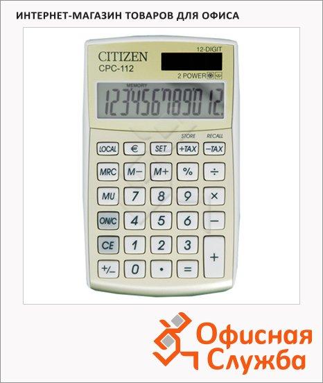 Калькулятор карманный Citizen CPC 112 GL белый, 12 разрядов