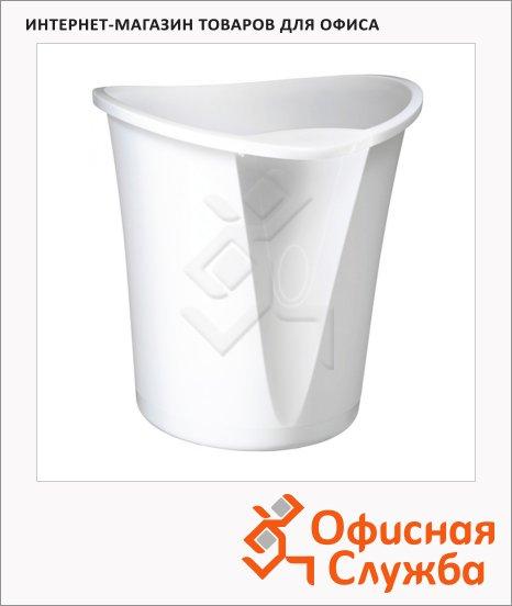 Корзина для бумаг Leitz Allura 18л, белый глянец, с держателем, 52040001