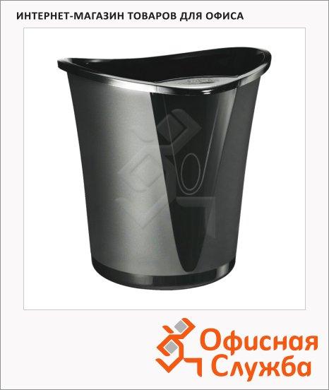 Корзина для бумаг Leitz Allura 18л, черная, с держателем, 52040095