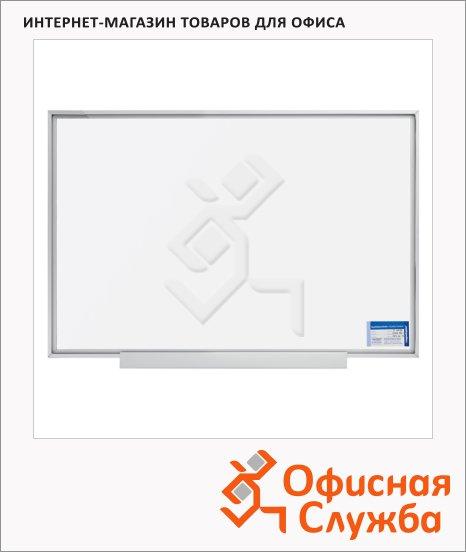 фото: Доска магнитная маркерная Magnetoplan 1241100 60х90см белая, эмалевая, системная рама ferroscript, полочка
