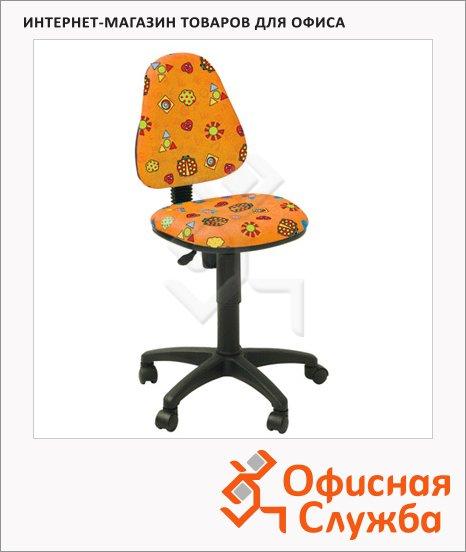 Кресло детское Бюрократ KD-4 ткань, крестовина пластик, оранжевая, божьи коровки