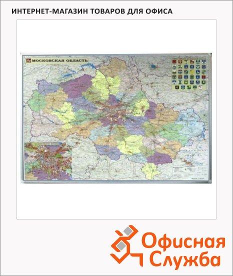 фото: Карта настенная Ferroscript Московской области 120х80см, алюминиевая рама, магнитно-маркерная