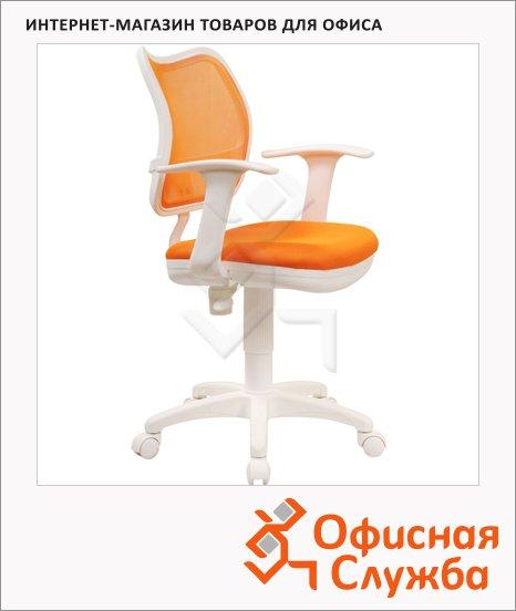 Кресло офисное Бюрократ CH-W797 ткань, крестовина пластик, белая, оранжевая