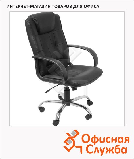 фото: Кресло руководителя Бюрократ T-800AXSN нат. кожа черная, крестовина хром