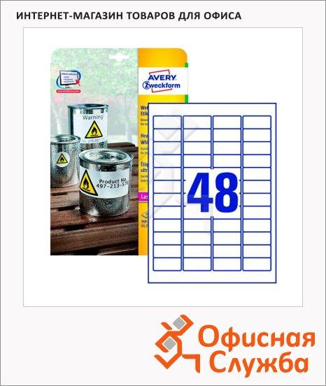 Этикетки всепогодные Avery Zweckform L4778-20, белые, 45.7х21.2мм, 48шт на листе А4, 20 листов, 960шт, для копир/ лазерной печати