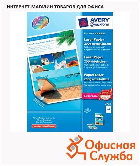 Бумага для принтера Avery Zweckform Премиум А4, 100 листов, 210x297мм, 200 г/м2, белая суперглянцевая, 2798
