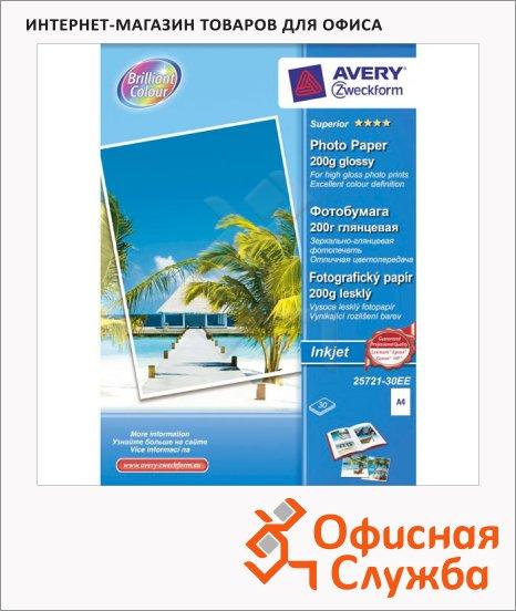 Фотобумага для струйных принтеров Avery Zweckform А4, 30 листов, 125г/м2, белая глянцевая, 25721-30