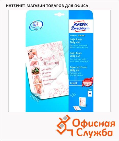 Бумага для принтера Avery Zweckform А4, 25 листов, 210x297мм, 200 г/м2, белая матовая, 2581