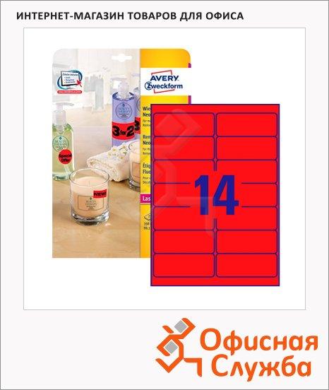 Этикетки удаляемые Avery Zweckform L7263R-25, 99.1x38.1мм, 14шт на листе А4, 25 листов, для копир/ цветной лазерной печати, красные неоновые, 280шт