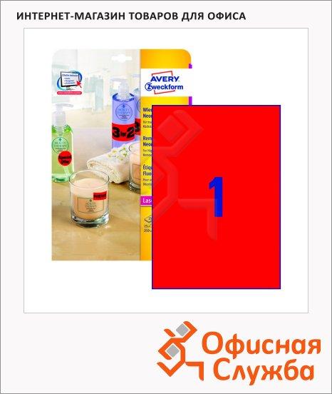 Этикетки удаляемые Avery Zweckform L6005-25, 210x297мм, 1шт на листе А4, 25 листов, 25шт, для копир/ цветной лазерной печати, красные неоновые