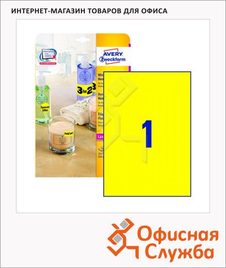 Этикетки удаляемые Avery Zweckform L6006-25, 210x297мм, 1шт на листе А4, 25 листов, 25шт, для копир/ цветной лазерной печати, желтые неоновые