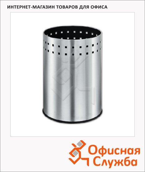 Корзина для бумаг Лайма Bionic 7л, матовый металлик, перфорированная, несгораемая, 232267
