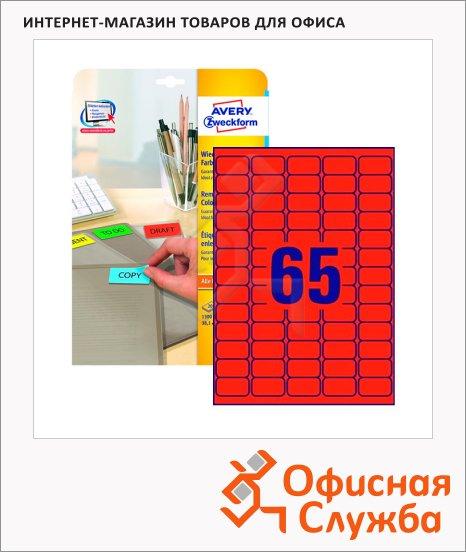 Этикетки удаляемые Avery Zweckform L4790-20, 65шт на листе А4, 20 листов, 1300шт, для всех видов печати, красные, 38.1x21.2мм