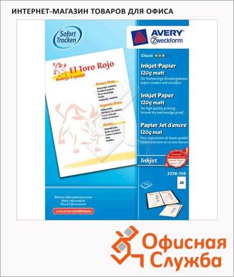 Фотобумага для струйных принтеров Avery Zweckform А4, 150 листов, 210x297мм, 110 г/м2, белая матовая, 2576-150