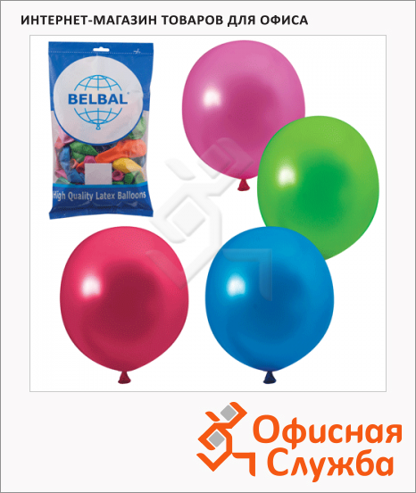 фото: Воздушные шары Веселая Затея 12 цветов металлик 30см, 50шт, в пакете, 1101-0034