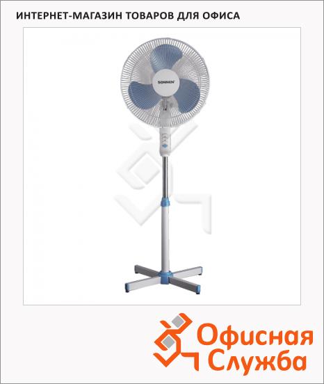фото: Вентилятор напольный Sonnen Stand Fan бело-синий 45 Вт, d=40см