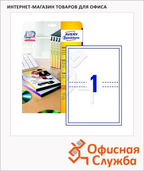 Вкладыши для CD/DVD Avery Zweckform L7436-25, белый, 273x183мм, 1шт на листе А4, 25 листов, 25шт, для всех видов печати