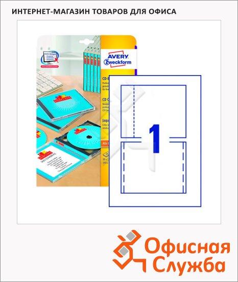Вкладыши для CD/DVD Avery Zweckform C32250-25, белый, 151x118мм, 1шт на листе А4, 25 листов, 25шт, для всех видов печати