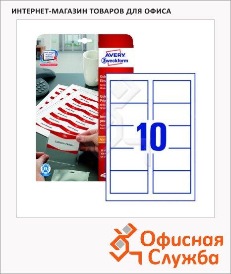 Вкладыши для бейджей Avery Zweckform Quick&Clean LR4727-20, 20 листов, белые, 90x54мм, 10шт на листе, 200шт, для струйной/ цветной печати