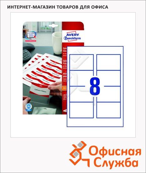Вкладыши для бейджей Avery Zweckform Quick&Clean LR4728-20, 20 листов, белые, 90x60мм, 8шт на листе, 160шт, для струйной/ цветной лазерной печати
