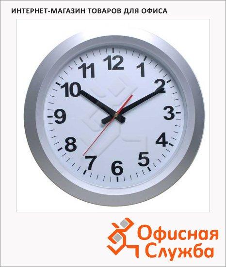 фото: Часы настенные Бюрократ бело-серебристые d=38см, круглые, R010P