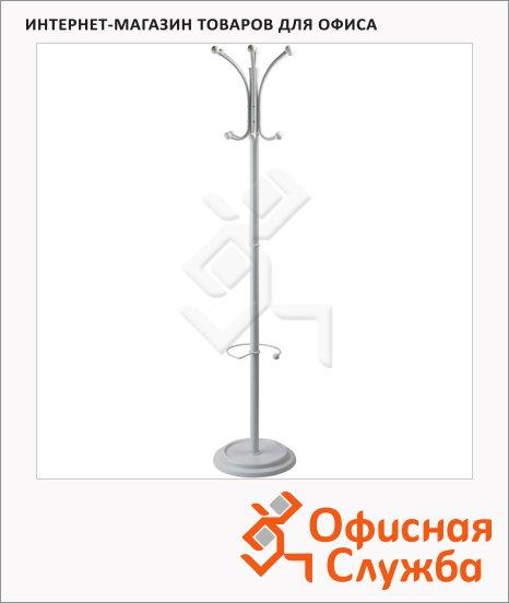 Вешалка-стойка напольная Бюрократ 12-10, белая, крючки двойные, 1835мм