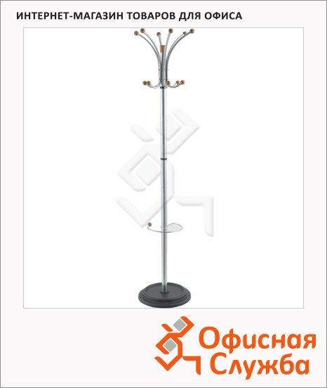 Вешалка-стойка напольная Бюрократ 12-10, серебристая с деревом