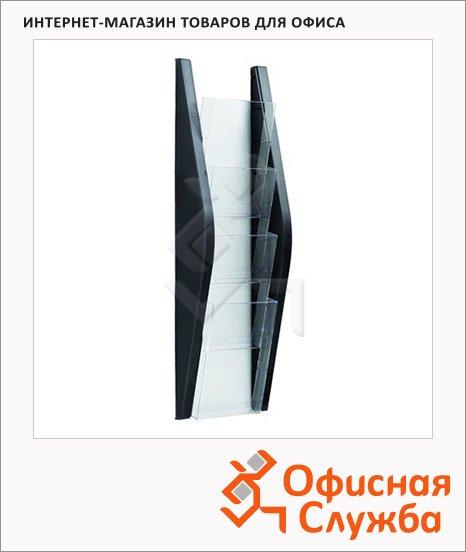 Лоток навесной для бумаг Helit 6270395 4 отделения, 1/3 А4, 165х80х540 мм, черный