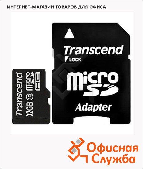 Карта памяти Transcend micro SDHC, 20мб/с, с адаптером SD, 32Gb