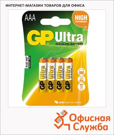 Батарейка Gp Ultra Alkaline AAA/LR03, 1.5В, алкалиновая, 4шт/уп