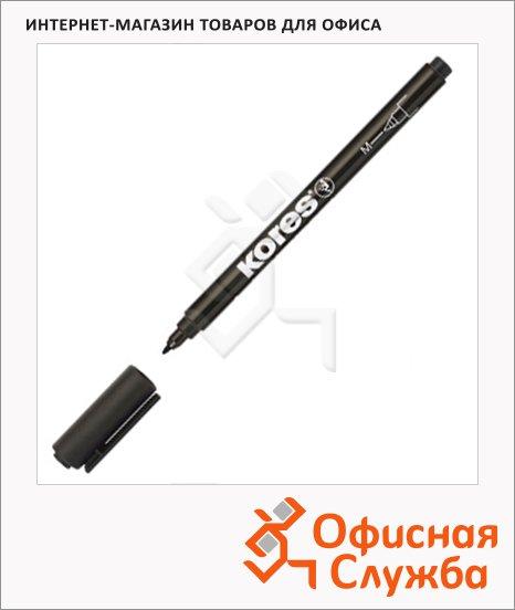 Маркер перманентный Kores черный, 1мм, круглый наконечник