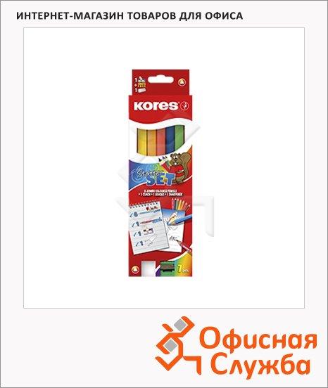 Набор цветных карандашей Kores Jumbo 6 цветов, с точилкой, 93506.01