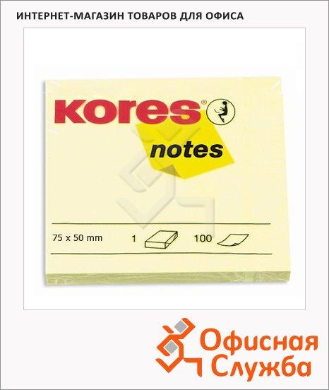Блок для записей с клейким краем Kores желтый, пастельный, 100 листов, 75х50мм