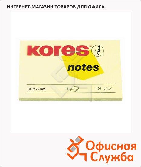 Блок для записей с клейким краем Kores желтый, пастельный, 100 листов, 100х75мм