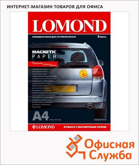 Фотобумага для струйных принтеров Lomond А4, 2 листа, 660 г/м2, глянцевая, одност., магн.слой, 2020345