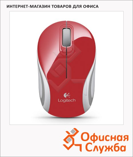 фото: Мышь беспроводная оптическая USB Wireless Mini Mouse Mouse 1000dpi, M187, красно-серая