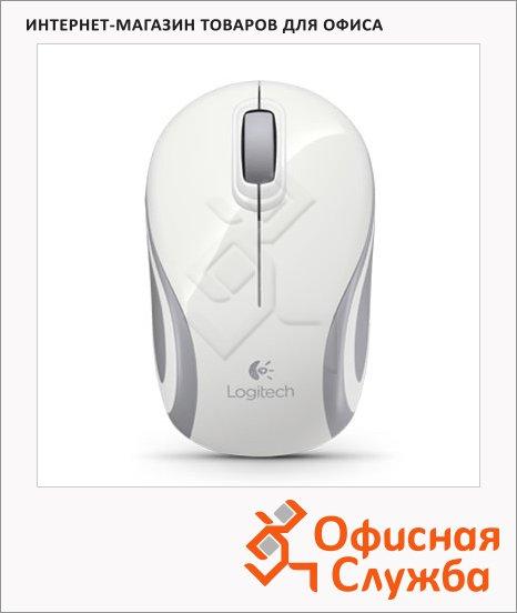 фото: Мышь беспроводная оптическая USB Logitech Wireless Mini Mouse M187 1000dpi, бело-серая