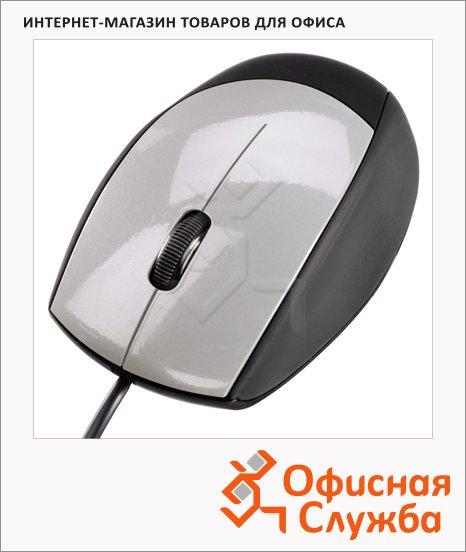 Мышь проводная оптическая USB Hama черно-серебристая, 800dpi,