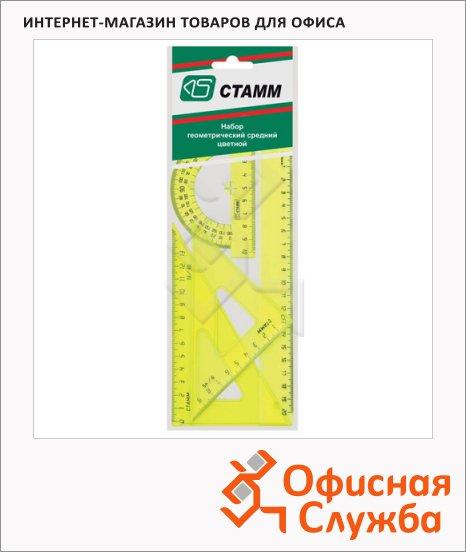 Набор чертежный Стамм Neon Cristal 4 предмета, линейка 20см,треугольник 2шт.,трансп-р, неон., НГ14