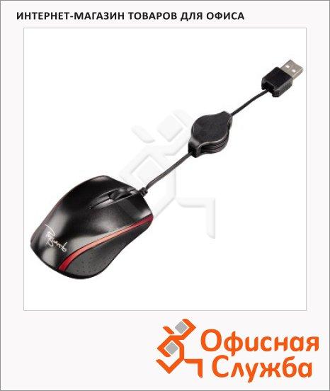 фото: Мышь проводная лазерная USB Hama Pequento черно-красная 1600dpi, H-53873