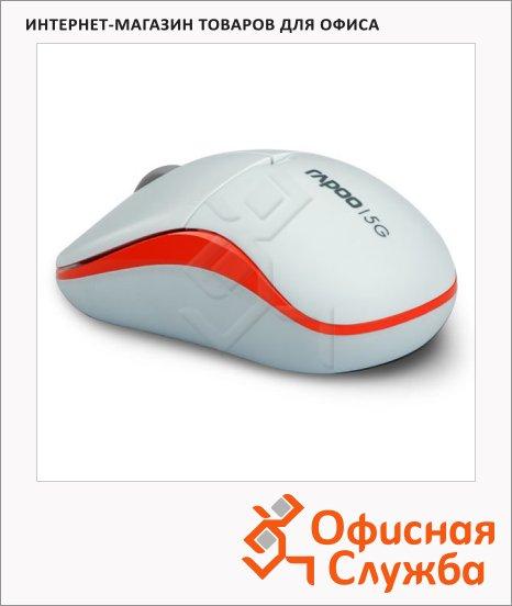 Мышь беспроводная оптическая USB Rapoo Lite 1090P, 1000dpi, бело-оранжевая