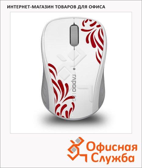 фото: Мышь беспроводная оптическая USB Rapoo 3000P 1000dpi, бело-красная