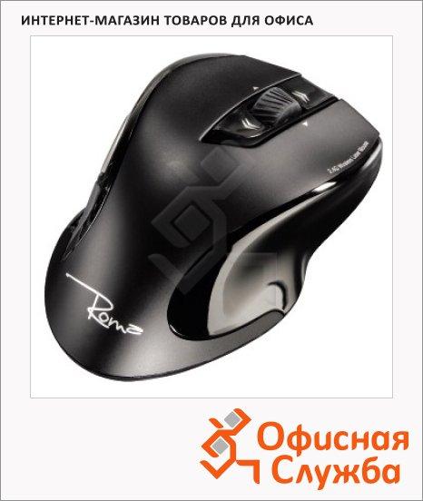 Мышь беспроводная лазерная USB Hama Roma черная, 800/1600dpi, H-53879