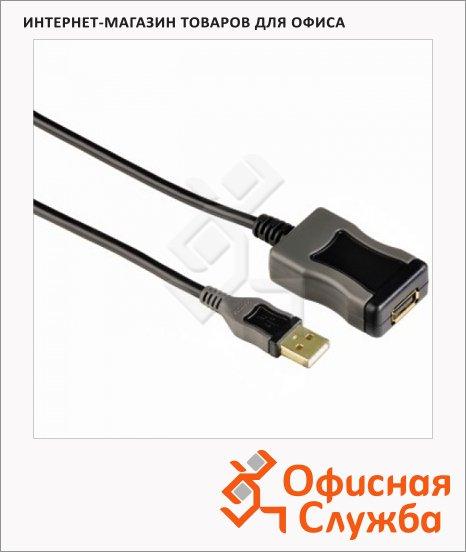 Кабель удлинительный USB 2.0 Hama A-A (m-f) 5 м, черный