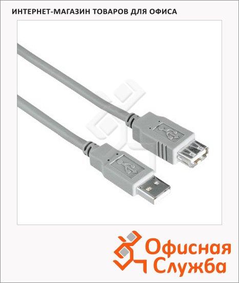 Кабель удлинительный USB 2.0 Hama USB 2.0 A-A (m-f) 1.8 м, серый, H-30619