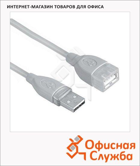 Кабель удлинительный USB 2.0 Hama A-A (m-f) 3 м, серый, H-45040