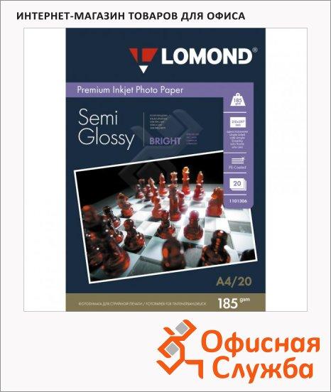 Фотобумага для струйных принтеров Lomond А4, 20 листов, 185 г/м2, полуглянцевая