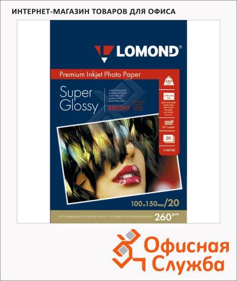 Фотобумага для струйных принтеров Lomond А6, 260г/м2, суперглянцевая, 20 листов, 1103102